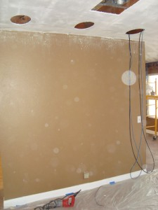 Holes in ceiling ready for in ceiling speakers to be installed
