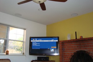 Example of in ceiling speaker installation with Corner Mount LCD