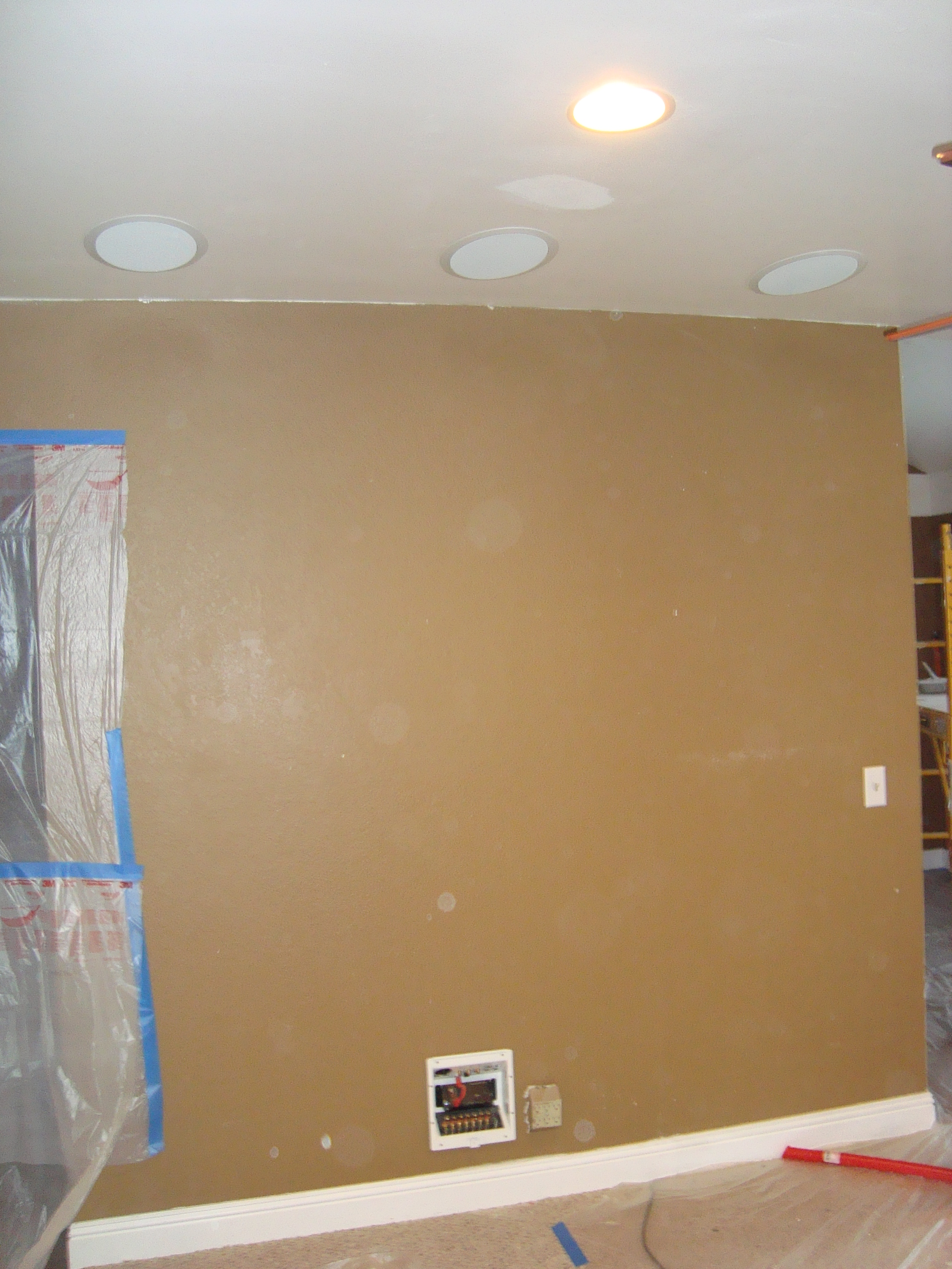 5 1 Home Theater In Ceiling Speaker Installation Before And After Rh Mwhomewiring Com
